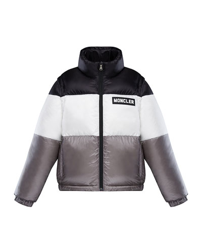 Boy's Tricolor Stand Collar Puffer Jacket, Size 4-6