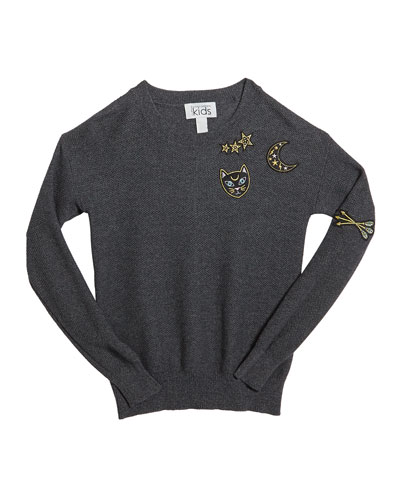 Honeycomb Crewneck Sweater w/ Cat & Moon Patches, Size 8-16
