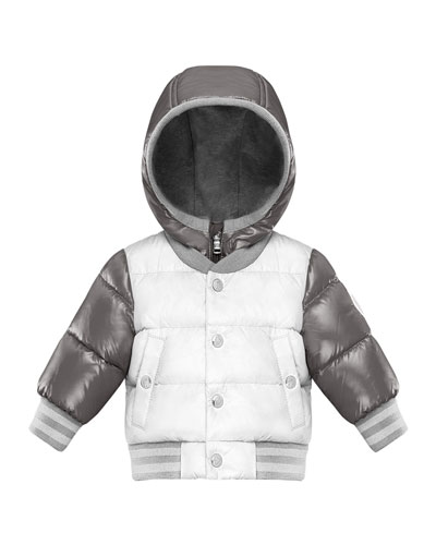 Two-Tone Quilted Zip-Up Hooded Varsity Puffer Jacket, Size 12M-3