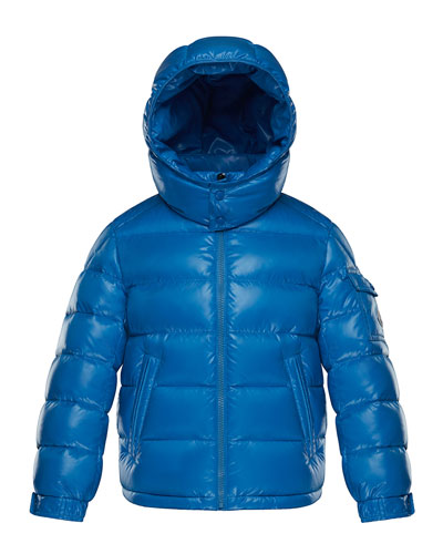 New Maya Quilted Hooded Nylon Puffer Jacket, Size 8-14