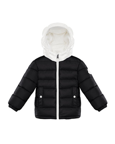 Quilted Two-Tone Puffer Jacket w/ Block Logo Hem, Size 12M-3