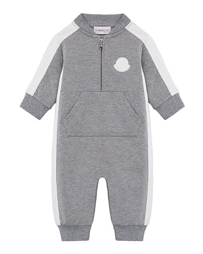 Heathered Coverall w/ Contrast Trim, Size 3-24 Months