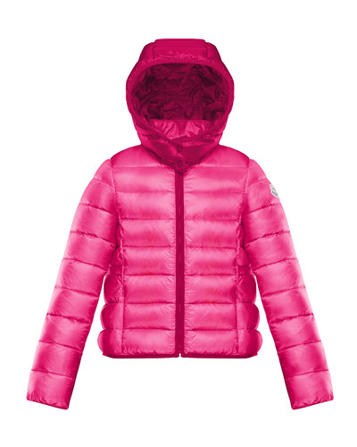 Hooded Contrast-Trim Puffer Jacket, Size 8-14