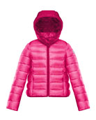 Moncler Hooded Contrast-Trim Puffer Jacket, Size 8-14 and