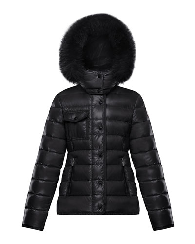 Women's MONCLER Black Lacquer Down Coat w Silver Fox Custom