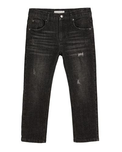 Slim Leg Distressed Denim Jeans, Size 2-14