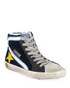 Golden Goose Boy's Slide High-Top Corduroy Sneakers, Toddler/Kids