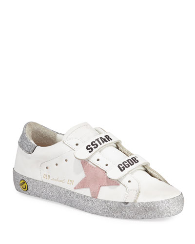 Girl's Old School Glitter Sole Low-Top Sneakers, Toddler/Kids