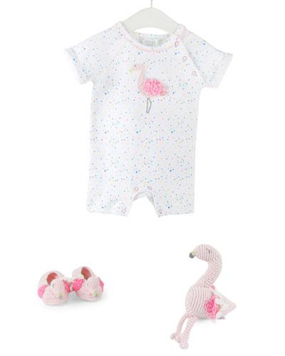 Flamingo Romper, Bootie & Rattle Set, Size 0-12 Months