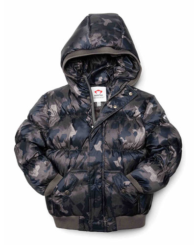 Puffy Camo Hooded Coat, Size 2-10