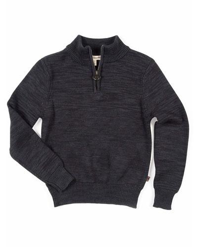 Boy's Mock-Neck Quarter-Zip Sweater, Size 2-10