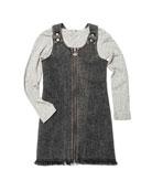 Appaman Mina Denim Zip-Up Dress w/ Striped Long-Sleeve