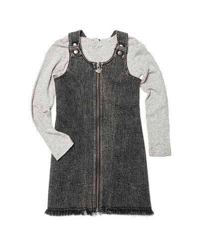 Mina Denim Zip-Up Dress w/ Striped Long-Sleeve Top, Size 2-14