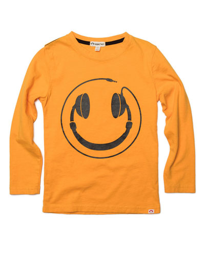 Headphones Smiley Face Graphic Tee, Size 2-10
