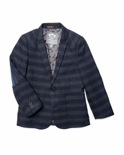 Boy's Striped Professor Blazer w/ Elbow Patches, Size 2-14