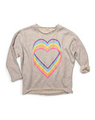 Appaman Love Rainbow Graphic Slouchy Sweatshirt, Size 2-14