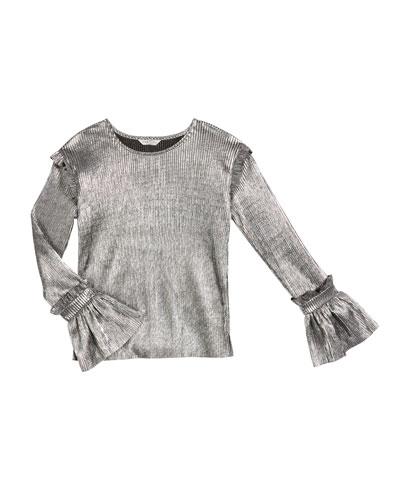 Nora Pleated Metallic Long-Sleeve Top, Size 7-14