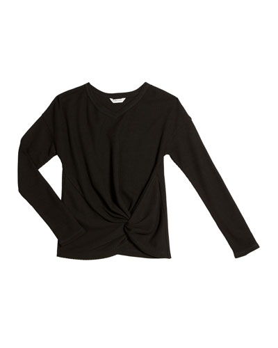 Ellison Knotted Waffle Knit Top, Size 7-14