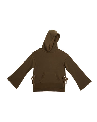Skylar Relaxed Fleece Hoodie w/ Side Ties, Size 7-14
