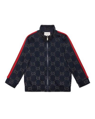 Metallic GG Jacquard Jacket w/ Web Trim Sleeves, Size 4-12