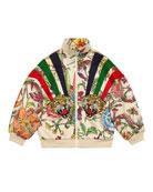 Gucci Floral Zip-Up Sweatshirt w/ Stripes & Tiger