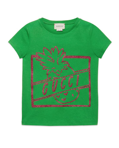 Glittered Pineapple Logo-Print Jersey Tee, Size 4-12