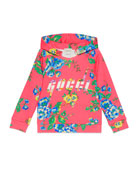 Gucci Floral Hooded Sweatshirt, Size 4-12