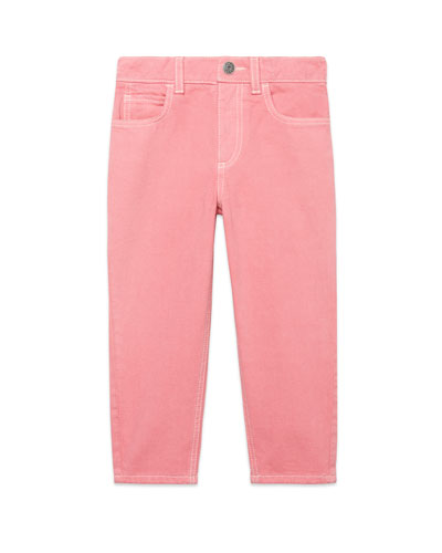 Washed Solid Pants w/ Mushroom Patch, Size 4-12