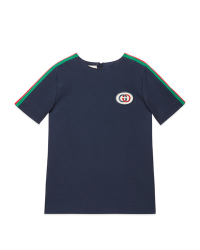 Short-Sleeve Jersey T-Shirt w/ Web Trim Sleeves, Size 4-12