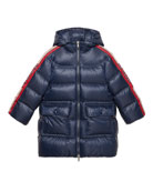 Gucci Girl's Padded Hooded Jacket w/ Logo Taping,
