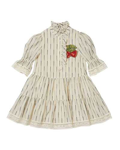 Girls' Ruffled Dress w/ Embroidered Strawberries, Size 4-12
