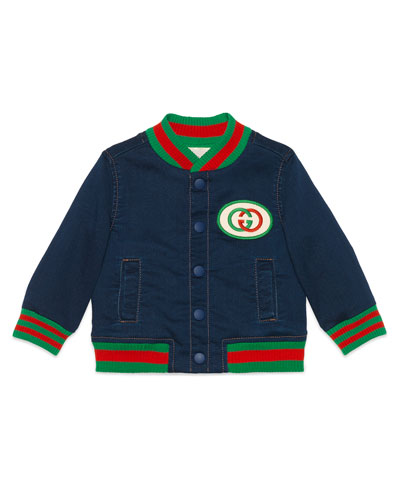 Web Trim Denim Bomber Jacket, Size 9-36 Months