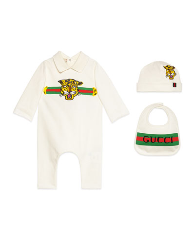 Logo Print Coverall w/ Matching Baby Hat & Bib, Size 0-36 Months
