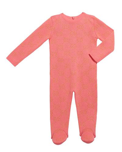 Girl's Metallic GG Jacquard Footie Pajamas, Size 0-36 Months