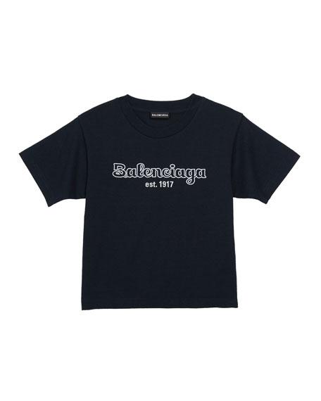 Balenciaga Kid's Bubble Script Logo Short-Sleeve T-Shirt, Size 2-10
