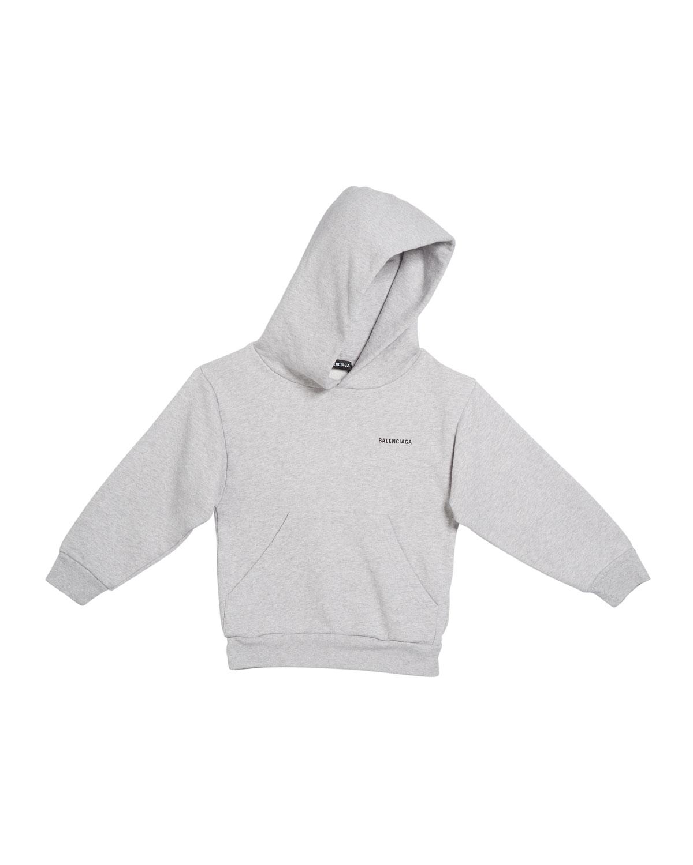 Balenciaga Kid's Logo Cotton Hoodie In Gray