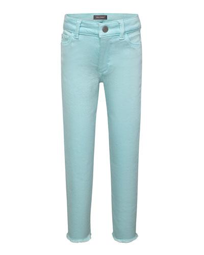 Girls' Chloe Skinny Raw-Hem Acid Wash Jeans, Size 2-6