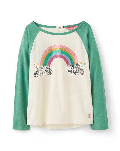 Lorna Glitter Rainbow & Sequin Cloud Raglan Tee, Size 2-6