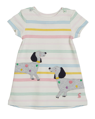 Kaye Striped Short-Sleeve Dress w/ Dog Appliques, Size 6-24 Months