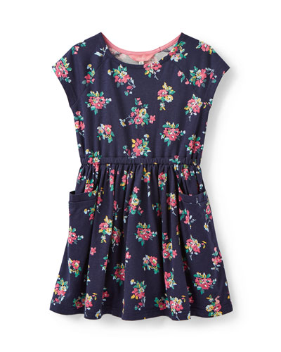 Jude Stripe & Floral Short-Sleeve Dress, Size 3-12