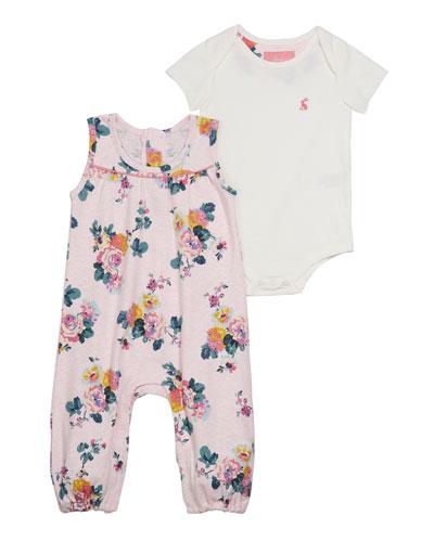 Olive Floral Romper w/ Solid Bodysuit, Size 3-24 Months