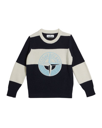 Colorblock Logo Embroidered Sweater, Size 8-10