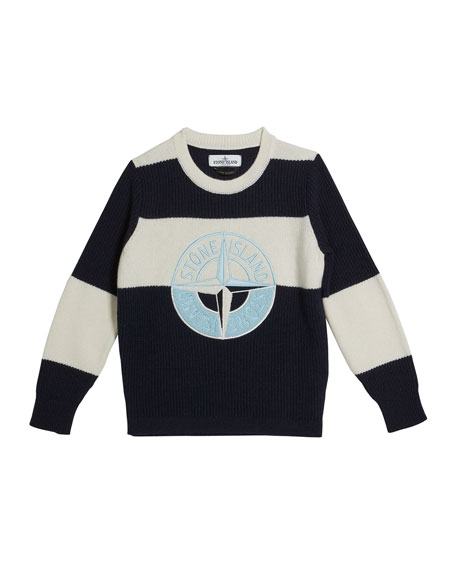 Stone Island Colorblock Logo Embroidered Sweater, Size 8-10