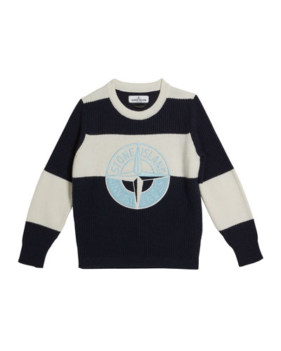 Colorblock Logo Embroidered Sweater, Size 2-6