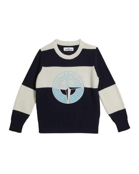 Stone Island Colorblock Logo Embroidered Sweater, Size 2-6