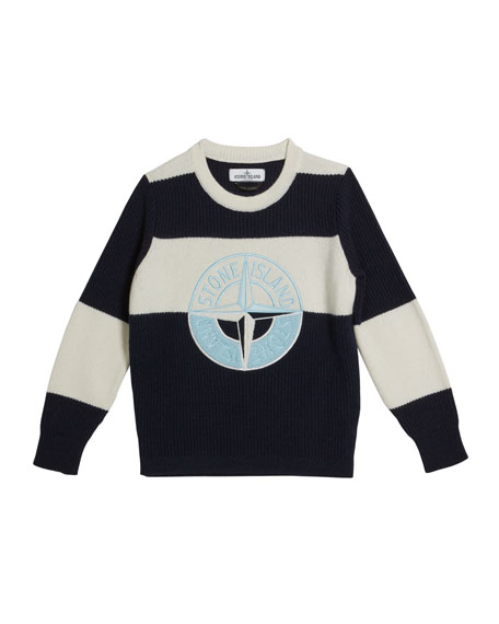 Stone Island Colorblock Logo Embroidered Sweater, Size 12