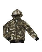 Stone Island Boy's Digital Space-Print Zip-Front Hooded Jacket,