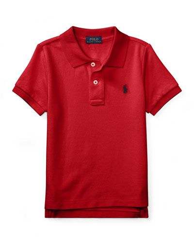 Short-Sleeve Logo Embroidery Polo Shirt, Size 2-3