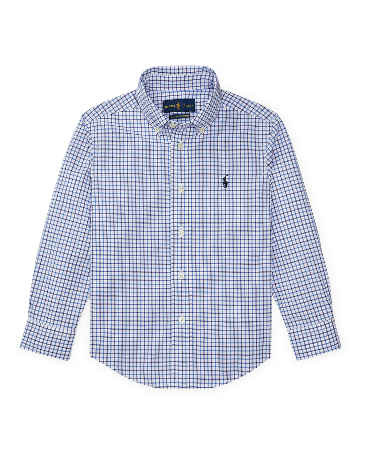 Ralph Lauren Childrenswear Kids' Poplin Woven Tattersall Sport Shirt In Blue Pattern