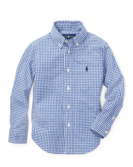 Ralph Lauren Childrenswear Poplin Woven Gingham Sport Shirt, Size 4-7